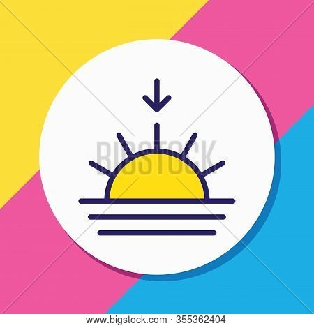 Vector Illustration Of Sunset Icon Colored Line. Beautiful Meteorology Element Also Can Be Used As S