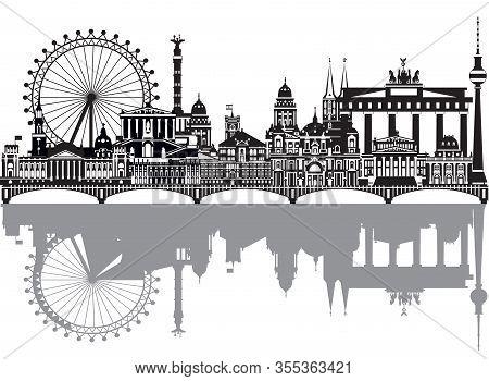 Vector Travel Illustration Of Berlin Skyline, Germany. Monochrome Isolated Illustration. Berlin Trav