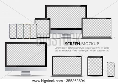 Screen Mockup. Computer Monitor, Laptop, Tablet And Smartphone With Blank Screen For Design