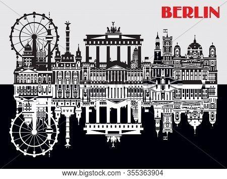 Vector Illustration Of Landmarks Of Berlin, Germany. Monochrome Isolated Illustration. Berlin Travel