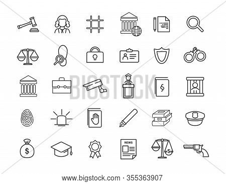 Set Of Linear Jurisprudence Icons. Law Icons In Simple Design. Vector Illustration