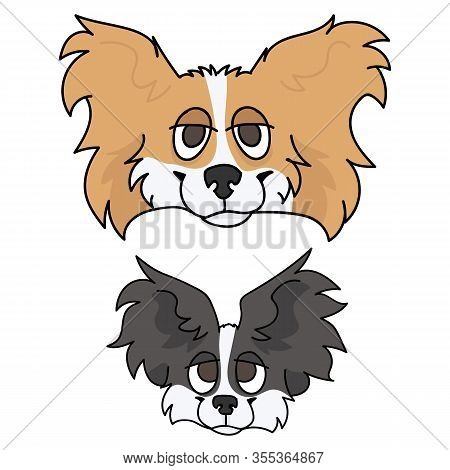 Cute Cartoon Papillon Dog And Puppy Face Vector Clipart. Pedigree Kennel Doggie Breed For Dog Lovers