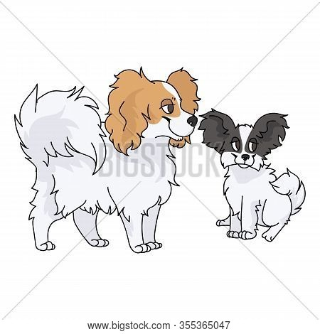 Cute Cartoon Papillon Dog And Puppy Vector Clipart. Pedigree Kennel Doggie Breed For Dog Lovers. Pur