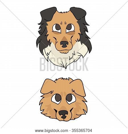 Cute Cartoon Rough Collie And Puppy Dog Faces Vector Clipart. Pedigree Kennel Sheepdog For Dog Lover