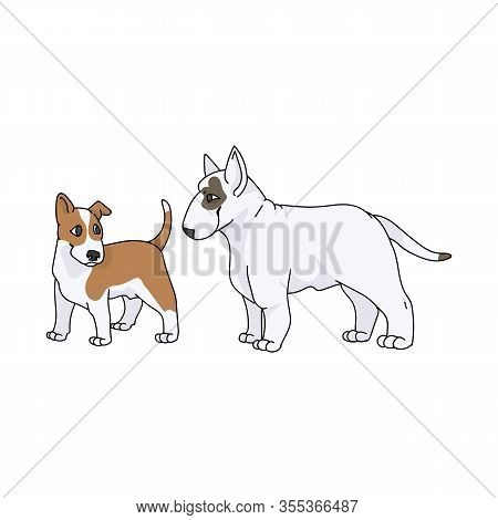 Cute Cartoon Bull Terrier Dog And Puppy Vector Clipart. Pedigree Kennel Show Dog For Dog Lovers. Pur