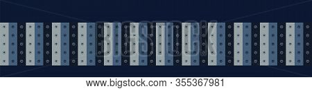 Indigo Blue Love Heart Stripe Vector Seamless Border Pattern. Hand Drawn Vertical Line Valentines Ba