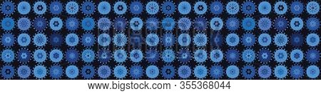 Indigo Blue Heart Polka Dot Vector Seamless Border Pattern. Hand Drawn Dotty Spot Style Valentines L