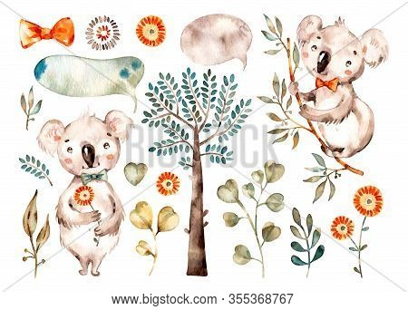 Baby Cute Koala. Watercolor Nursery Cartoon Australian Animals, Tropical Trees, Leaves. Adorable Nur