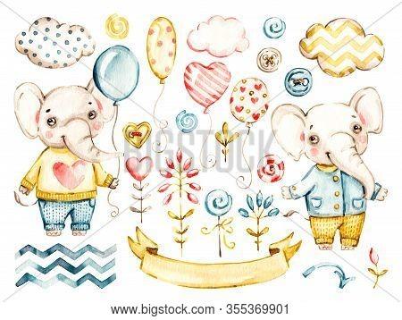 Cute Elephant Baby Boy. Watercolor Vector Nursery Cartoon Jungle Animals, Cute Clouds, Balloons. Ado