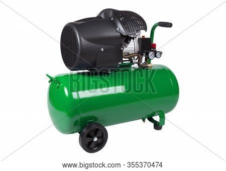 Air Compressor With Green Receiver Isolated On White Background