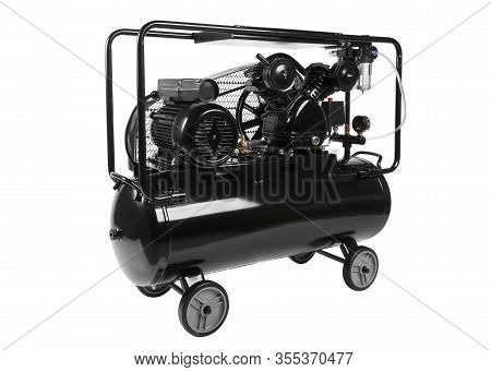 Black Twin Cylinder Air Compressor Isolated On White Background