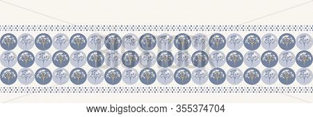 Grey French Blu Vector Floral Polka Dot Texture Seamless Border Pattern. Pretty Spring Carnation Orn