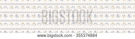 Grey French Blu Vector Floral Polka Dot Stripe Seamless Border Pattern. Pretty Spring Carnation Styl