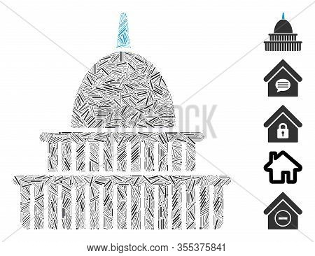 Hatch Mosaic Based On Government Building Icon. Mosaic Vector Government Building Is Created With Sc