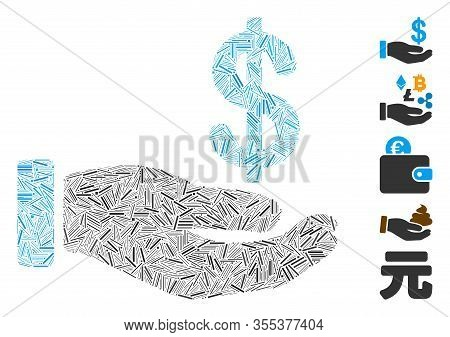 Line Mosaic Based On Earnings Hand Icon. Mosaic Vector Earnings Hand Is Created With Randomized Line