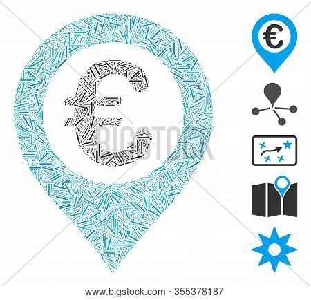 Line Mosaic Based On Euro Pushpin Icon. Mosaic Vector Euro Pushpin Is Designed With Scattered Line S