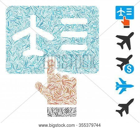 Hatch Mosaic Based On Airline Ticket Booking Icon. Mosaic Vector Airline Ticket Booking Is Created W