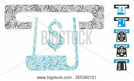Line Mosaic Based On Paper Receipt Slot Icon. Mosaic Vector Paper Receipt Slot Is Formed With Scatte