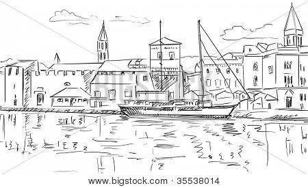 Croatia town street - sketch illustration