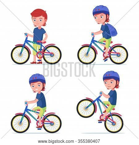 Boy Riding A Bike. Vector Illustration Cartoon Kid In A Helmet Drives A Bicycle. Set Boy Riding A Bi