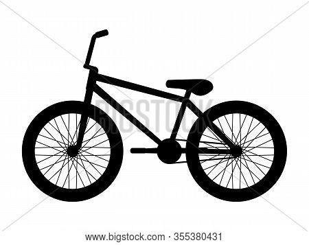 Silhouette Bmx Bike. Vector Illustration Of Black Logo Icon Bmx Bike Isolated On A White Background.