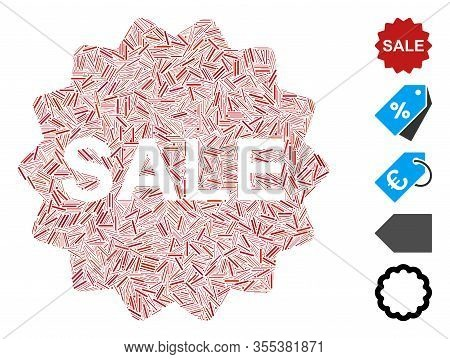 Hatch Mosaic Based On Sale Token Icon. Mosaic Vector Sale Token Is Formed With Random Hatch Elements