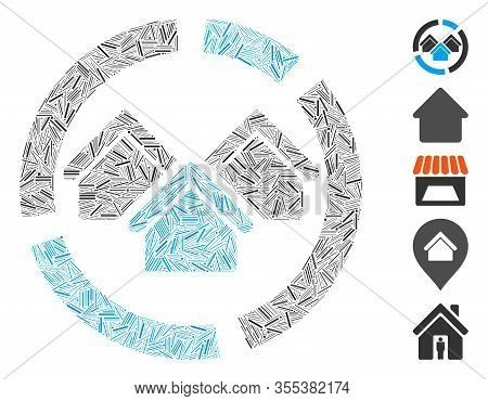 Line Mosaic Based On Realty Diagram Icon. Mosaic Vector Realty Diagram Is Created With Random Hatch