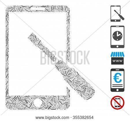 Hatch Mosaic Based On Smartphone Tuning Screwdriver Icon. Mosaic Vector Smartphone Tuning Screwdrive