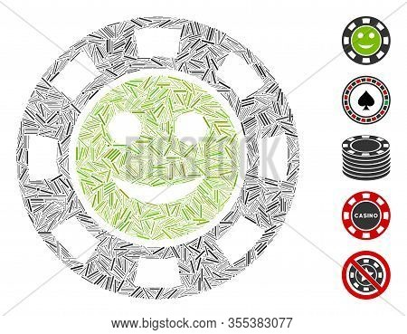 Line Mosaic Based On Glad Casino Chip Icon. Mosaic Vector Glad Casino Chip Is Designed With Scattere