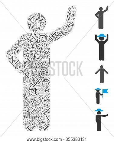 Hatch Mosaic Based On Assurance Pose Icon. Mosaic Vector Assurance Pose Is Formed With Random Hatch