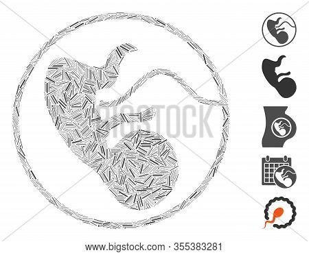 Line Mosaic Based On Prenatal Icon. Mosaic Vector Prenatal Is Composed With Randomized Line Items. B