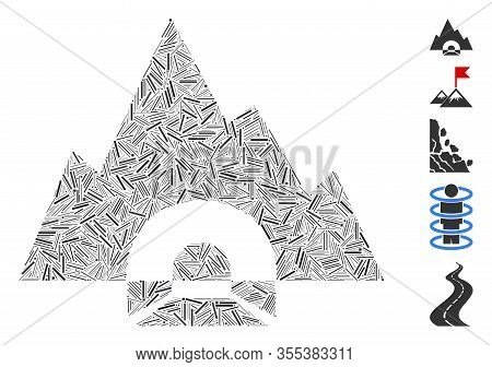 Line Mosaic Based On Mountain Tunnel Icon. Mosaic Vector Mountain Tunnel Is Designed With Random Das