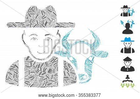 Dash Collage Based On Cattle Farmer Icon. Mosaic Vector Cattle Farmer Is Designed With Randomized Da