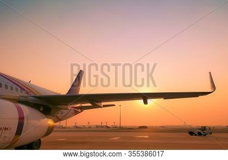 Bangkok, Thailand-febuary 20, 2020 : Thai Smile Airways. Passenger Plane Parked At Suvarnabhumi Airp