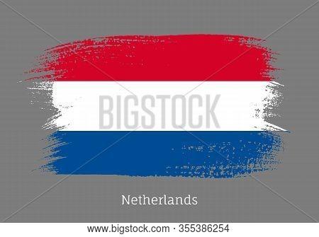 Netherland Official Flag In Shape Of Paintbrush Stroke. Netherlandish National Identity Symbol. Grun