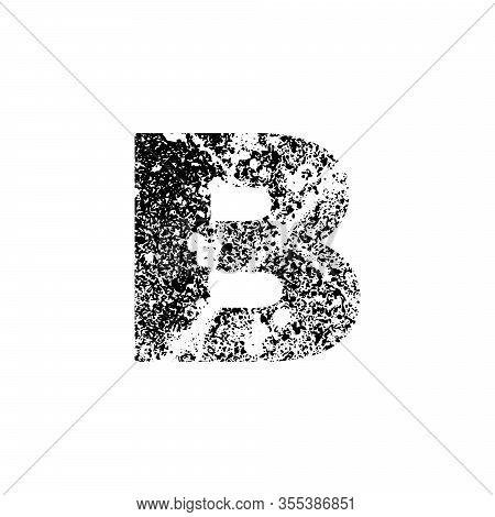 Painted Letter B. Grunge Alphabet Font. Abstract Handmade Sans Serif Typeface. Distress Textured Abc