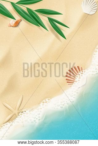 Summer Poster With Top View On Beach. Top View On Ocean Beach With Soft Waves And Tropical Leaf. Bea