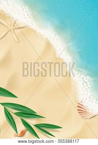 Summer Vertical Banner With Top View On Beach. Top View On Ocean Beach With Soft Waves And Tropical