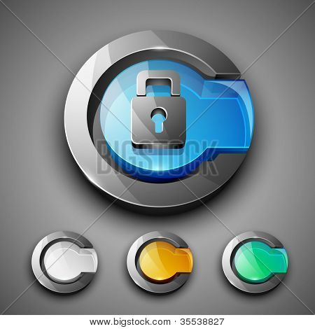 Glossy 3D web 2.0 lock, login or security symbol icon set. EPS 10.