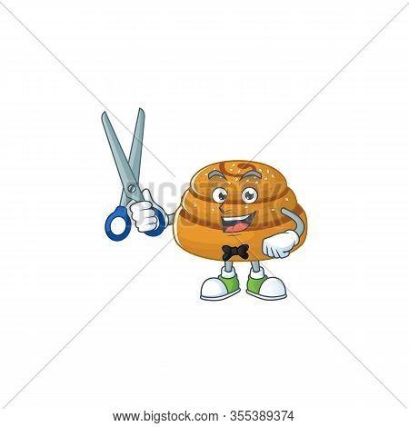 Cool Barber Kanelbulle Cartoon Mascot Design Style