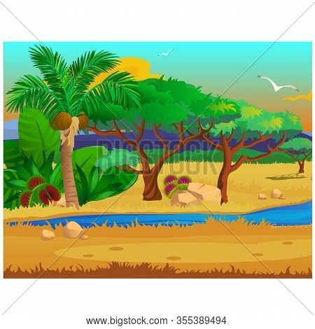 Picturesque Landscape With A Coconut Palm Tree, Stones, Carnivorous Plants, Flying Bird. Sketch Of A