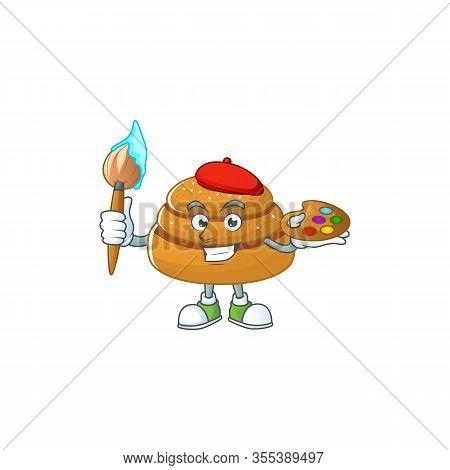 An Artistic Kanelbulle Artist Cartoon Design Using A Brush