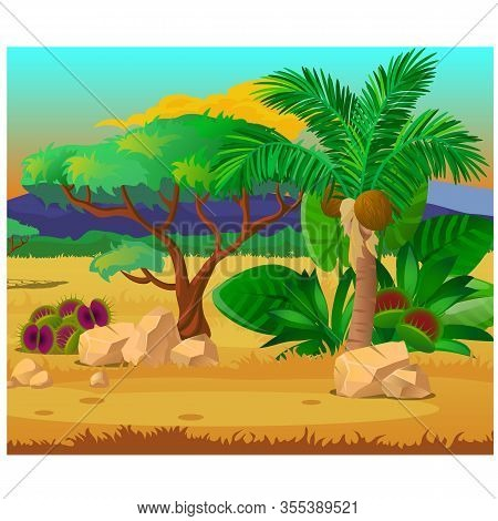 Picturesque Landscape With A Coconut Palm Tree, Rocks And Carnivorous Plants. Sketch Of A Beautiful