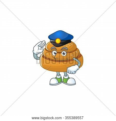A Cartoon Of Kanelbulle Dressed As A Police Officer