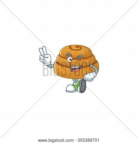 A Joyful Kanelbulle Mascot Design Showing His Two Fingers
