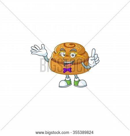 Super Funny Kanelbulle In Nerd Mascot Design Style