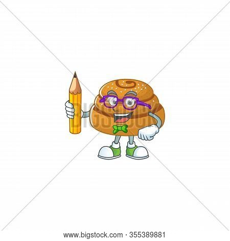 Kanelbulle Clever Student Character Using A Pencil
