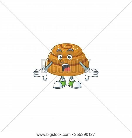 A Mascot Design Of Kanelbulle Making A Surprised Gesture