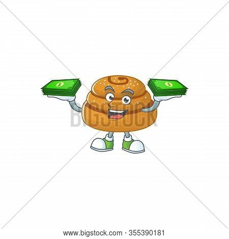 Happy Rich Kanelbulle Character With Money On Hands