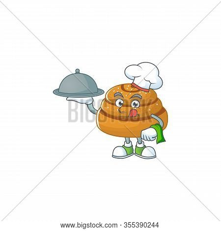 Chef Cartoon Character Of Kanelbulle With Food On Tray